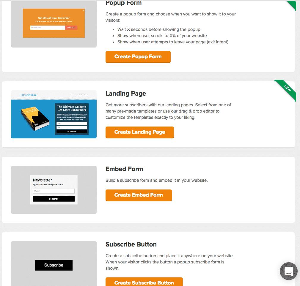 mailerlite opt in options