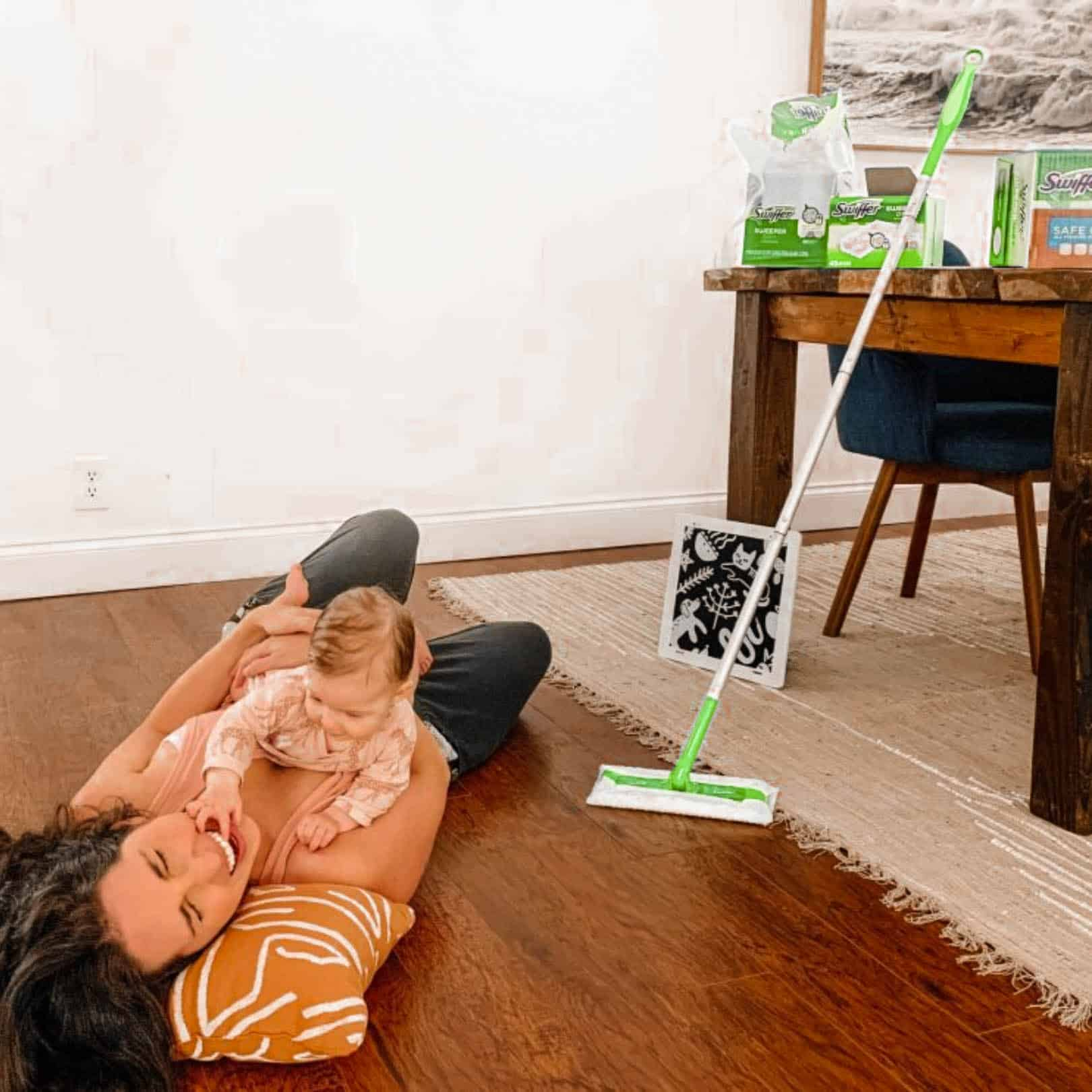 tummy time activities for baby with swiffer