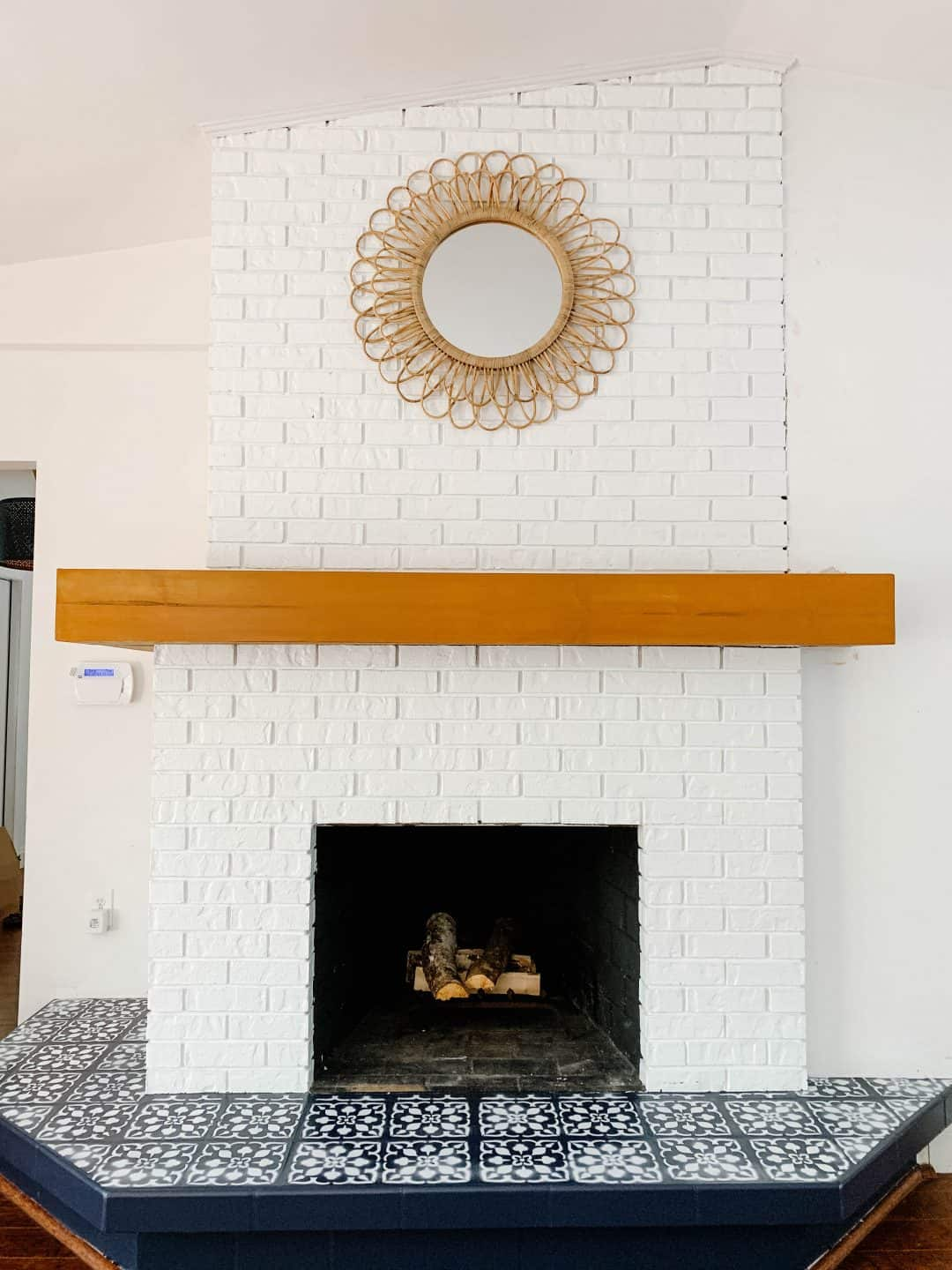 How To Paint Fireplace Tile With A Stencil Mistakes To Avoid On Your Diy Fireplace Makeover The Confused Millennial