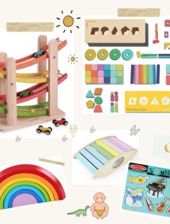 Best Montessori Friendly Gift Guide For Newborns to 2-Year Olds, montessori toys for baby and toddler from 0-3 months, to 10 months, to 6-12 months, to one year old, or 2 year old, gifts for infants that parents will thank you for and love to have at home in their space, montessori must haves for a sensory environment encouraging learning and practical life skills made of sustainable and ethical materials, #montessoritoys, #babygiftguide, #toddlergiftguide