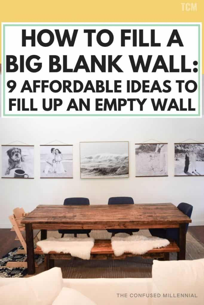 How To Fill A Big Blank Wall: 9 Affordable Ideas To Fill Up An Empty Wall, big blank wall ideas for living room, bedrooms, kitchen, or hallways, budget friendly wall decor, easy diy wall decor ideas for large signs, ideas like hanging shelves, painting, wallpaper, minimalist gallery wall, #walldecor, #blankwall, #emptywall