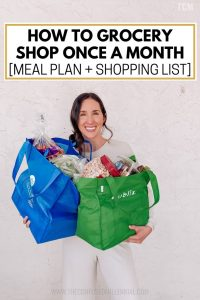 Cheap Grocery List + Meal Plan for Family On A Budget Trying To Grocery Shop Once A Month, tips and hacks on how to be frugal with monthly grocery list when buying in bulk for family of 3 or 4 with baby, sustainable shopping tips to save money with kids, monthly grocery list healthy with newborn that reduces waste, #grocerylist, #familymealplan, #mealplan, #groceryshopping