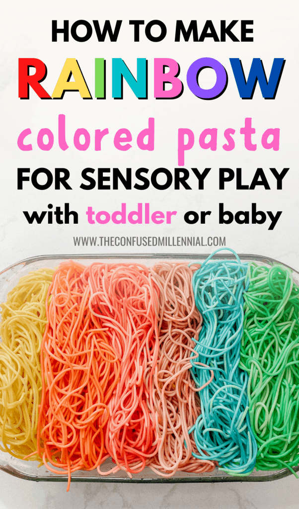 Need a play based learning + sensory play idea for your baby? Here is a fun, kid-friendly recipe to make rainbow pasta! rainbow spaghetti sensory play bin activity, things to do with toddlers at home, cheap and simple diy for fun learning activities with 2 year olds or 1 year old or 3 year old, rainy day crafts that are basically free to do indoors, toddler activities under 2 indoor, toddler sensory play, #toddleractivities, #toddleractivity, #rainbowspaghetti, #coloredpasta