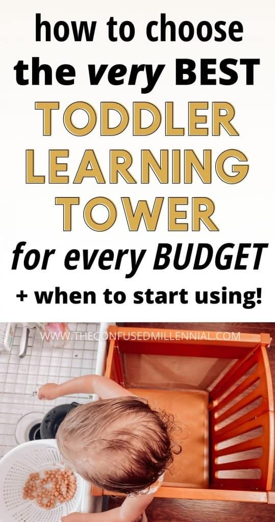 How To Choose The Best Toddler Learning Tower + When To Start Using One! A complete guide for new parents looking at montessori learning towers. Find the best toddler tower for your budget and lifestyle that is adjustable for your little sous chef, one's that are perfect for folding, what the difference is between a kitchen helper and stool, and the DIY ikea hack for how to make your own! There's also the best option for a convertible toddler tower that is an easy transform from wooden step stool to table and chair, #toddlertower