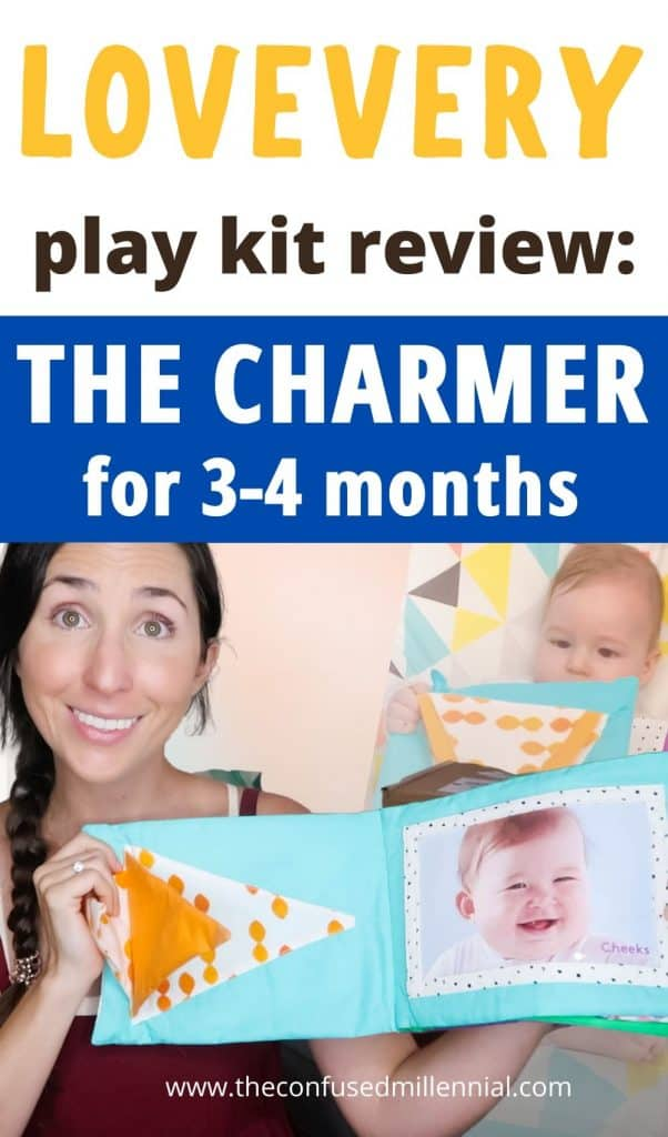 """Wondering if the Lovevery play kits are worth it? Here are all my thoughts on """"The Charmer"""" playkit from #lovevery for 3-4 months old babies. First time moms looking for montessori and waldorf based wooden toys to support their newborn baby in reaching those milestones during the fourth trimester. growth and development. Is it the best montessori based subscription kit for 1 month infants? Find out if it's right for your newborn baby and you in this post! #lovevery #thelooker #montessoritoys #1month #baby"""