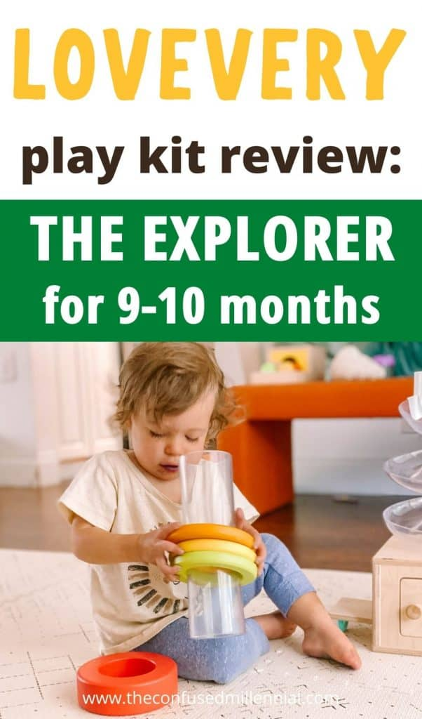 """Wondering if the Lovevery play kits are worth it? Here are all my thoughts on """"The Explorer"""" playkit from #lovevery for 9-10 months old babies. First time moms looking for montessori and waldorf based wooden toys to support their baby's first year reaching milestones for growth and development look at my Lovevery subscription toy box to see if it is the best montessori based toy subscription box for 9-10 months? Find out if it's right for your baby and you in this post! #lovevery #theinspector #montessoritoys"""