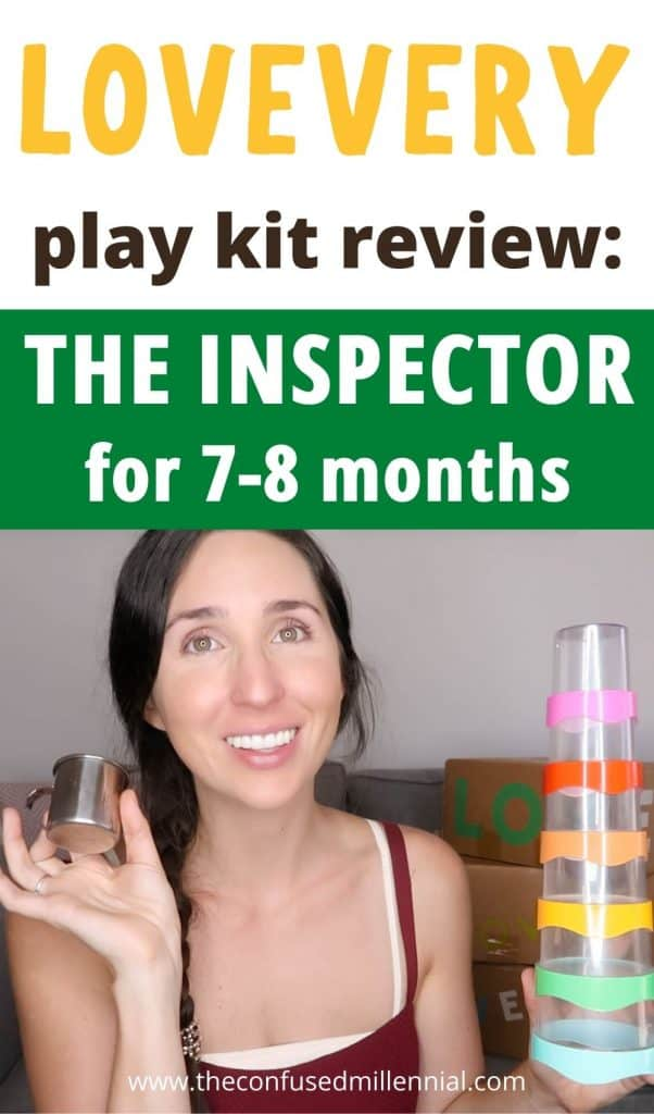 """Wondering if the Lovevery play kits are worth it? Here are all my thoughts on """"The Inspector"""" playkit from #lovevery for 7-8 months old babies. First time moms looking for montessori and waldorf based wooden toys to support their newborn baby in reaching those milestones during the first year for growth and development. Is it the best montessori based toy subscription box for 7-8 months? Find out if it's right for your baby and you in this post! #lovevery #theinspector #montessoritoys"""
