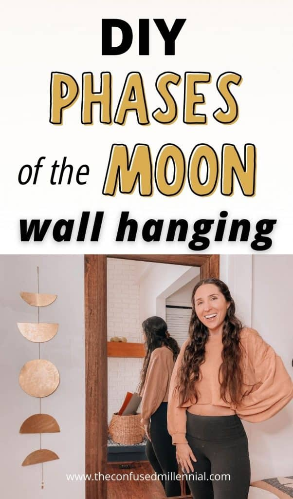 How To DIY Phases Of The Moon Wall Hanging Decor | Easy Boho Finish, how to make a moon phase wall hanging at home for a touch of bohemian wall decor, urban outfitters dupe boho moon chain, free people moon wall hanging knockoff for the home, #moonphases #phasesofthemoon #walldecor #wallhanging