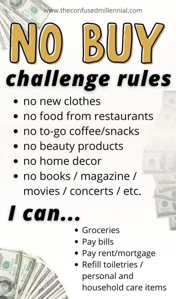 Wondering how to successfully do a No Buy Challenge? I'm sharing my list of rules for a no buy year that I successfully completed and it totally changed my relationship to money! Discover my secret for saving thousands of dollars each year in this post while embracing simple living and a frugal lifestyle! #moneysavingtips #nobuychallenge #nobuyyear