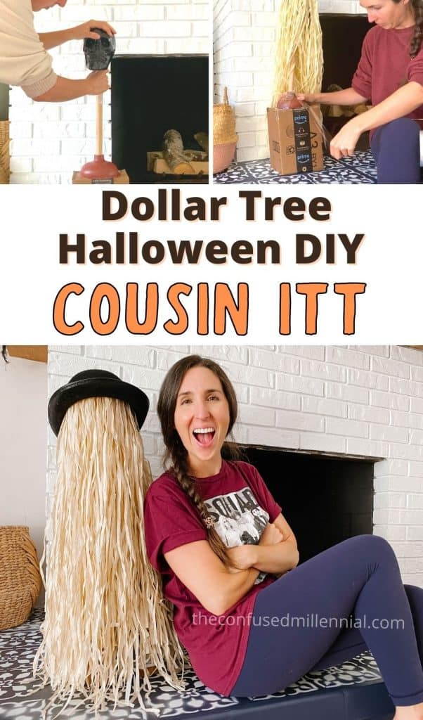 Looking for an EASY and affordable Halloween Decor DIY? Check out this Dollar Tree Halloween DIY Decor hack for Cousin Itt From Addams Family! It's the perfect Halloween prop that's unique and adds a nice neutral texture to your halloween home decor! Kids will love how friendly Cousin It is too! #halloweendiy #dollartreehalloween #cousinitt #diycousinitt #diydollartreehalloween BONUS: no tomato cage needed! Just grab a grass hula skirt and a few other items from your dollar store!