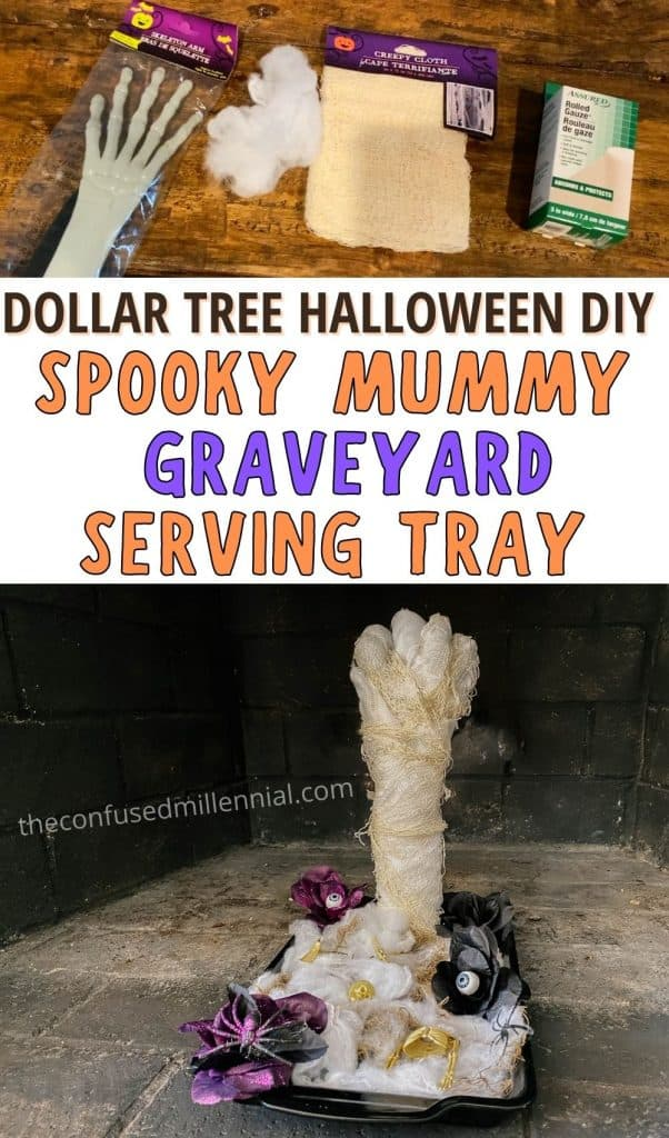 Want to make an EASY and AFFORDABLE Halloween serving tray or catch all tray? This is the perfect dollar tree halloween decor hack! Learn how to make a mummy hand from a skeleton and create this spooky graveyard effect in this step by step halloween decor tutorial using only items from the dollar store! #halloweendecor #halloweendiy #diyhalloween #dollartreediy #Dollartreehalloween #diydollartreehalloween #halloweendecordiy #diyhalloweendecor #dollartreeservingtray
