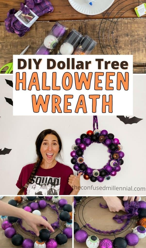 Discover how to make a dollar tree halloween ornament wreath in this step-by-step tutorial! This is the perfect halloween decor hack and will cost you only ! It's really easy and looks amazing! #halloweendecor #halloweendiy #diyhalloween #dollartreediy #Dollartreehalloween #diydollartreehalloween #halloweendecordiy #diyhalloweendecor