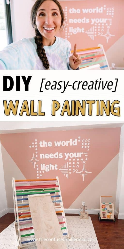 How To DIY Easy Fun Wall Painting: Creative Idea For Wall Mural! A easy, fun, creative idea for any playroom, bedroom, living room, or nursery to add a little color and inspiration to your home living space! See the step-by-step tutorial and tips I have for re-creating and personalizing this DIY wall mural! #wallpainting #wallmural
