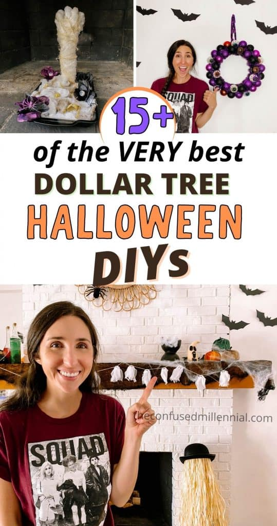 15 Of The BEST Dollar Tree Halloween DIYs To Try This Year! These are all easy Halloween crafts you can do alone or with kids for a spooky and cheap halloween decorations! This Halloween Decor will definitely impress! #halloweendiy #halloweendiys #dollartreehalloween #halloweendollartree #halloweendecor #halloweendecordiy #halloweendecordiys