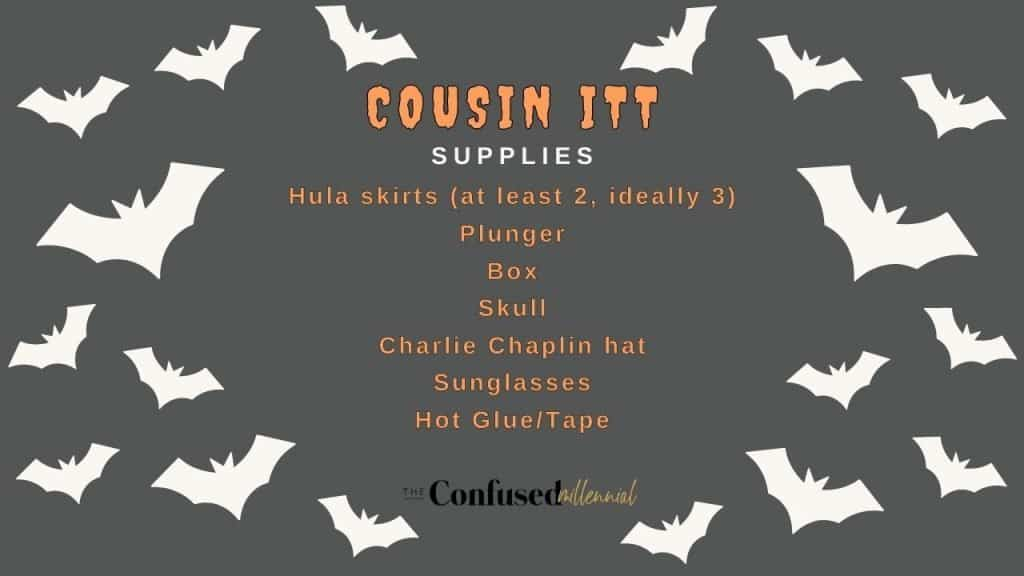 DIY Cousin Itt Halloween Decoration supply list using only items from Dollar Tree. Print as a shopping list to get all your supplies from the dollar store for this Halloween decor hack!