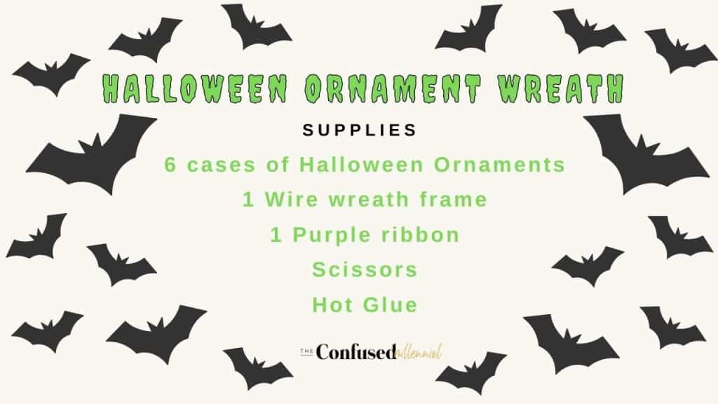 How To Make A Dollar Tree Halloween Ornament Wreath supply list