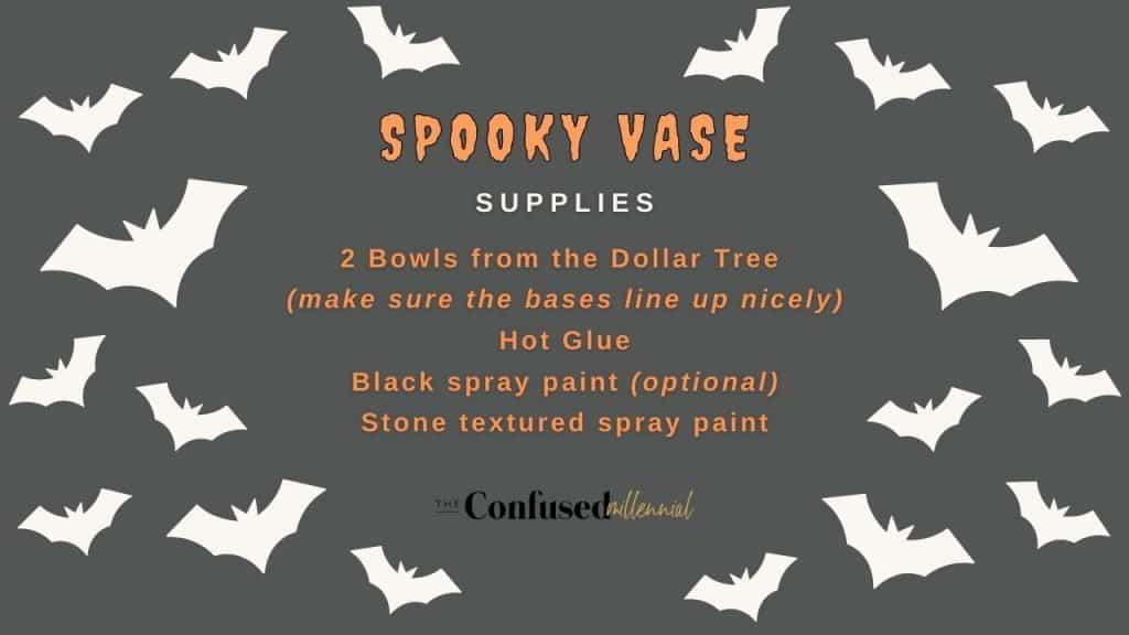 Dollar Tree Halloween Decor Supplies for a spooky vase, halloween decor hacks, diy halloween decorations