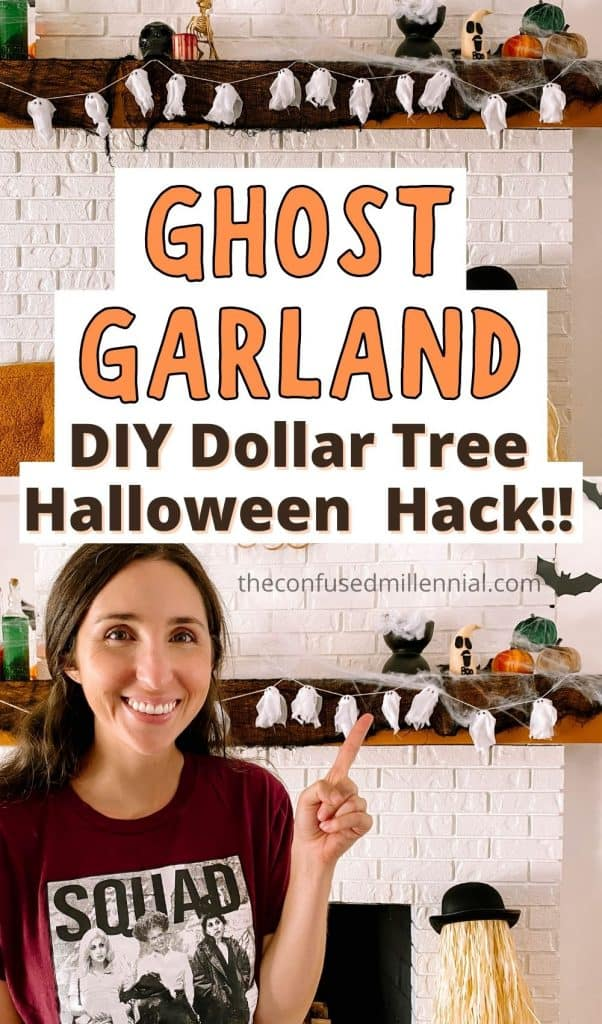 Looking for an EASY and affordable Halloween Garland? Check out this DIY Halloween Ghost Garland [Only !] It's the perfect Halloween Dollar Tree Decor Hack for making a spooky, but not frightening, halloween decoration with kids around! #halloweendiy #dollartreehalloween #halloweendollartreediy #ghostgarland #diyghostgarland