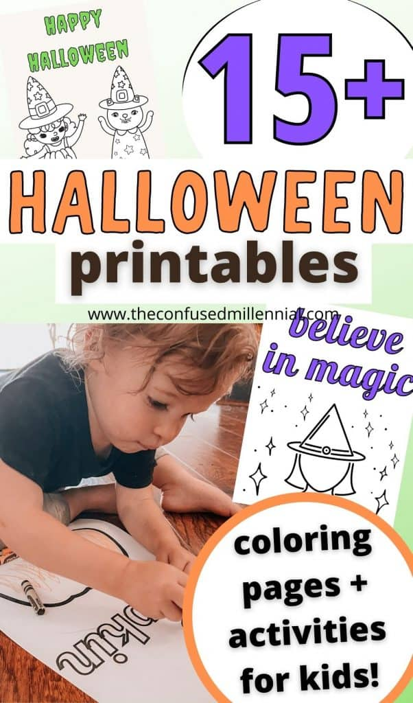 21 Free Printable Halloween Color Pages + Activities For Kids! Perfect for toddlers, preschool, and kindergarten children! Packed with printable Halloween color pages, stencils for Halloween crafts, and a handful of halloween activities like matching games, i spy, masks, and a treasure hunt!