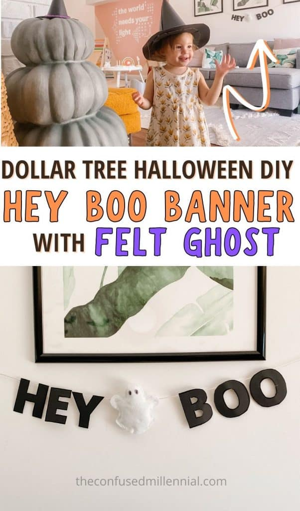 "Looking for an EASY and affordable Halloween Garland? Check out this DIY Halloween ""Hey ""Boo"" with Felt Ghost Garland [Only $3!] It's the perfect Halloween Dollar Tree Decor Hack for making a spooky, but not frightening, halloween decoration with kids around! #halloweendiy #dollartreehalloween #halloweendollartreediy #ghostgarland #diyghostgarland how to make a hey boo ghost banner"