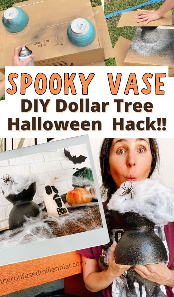 Want to make an EASY and AFFORDABLE Halloween themed candy bowl, serving bowl, or spooky vase? This is the perfect dollar tree halloween decor hack! It's really easy AND tips for how toreuse it once halloween is over in our everyday house decor! Check out my Halloween DIY Spooky Candy Bowl / Vase - Dollar Tree Hack here! #halloweendecor #halloweendiy #diyhalloween #dollartreediy #Dollartreehalloween #diydollartreehalloween #halloweendecordiy #diyhalloweendecor