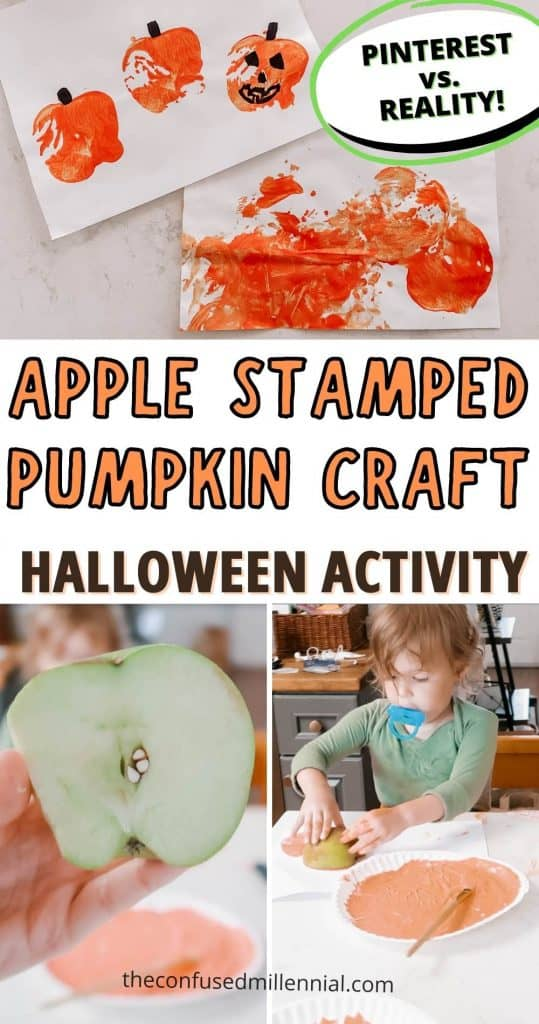 Looking for an easy, fast set up, easy clean up halloween activity for your toddler or preschool aged kid? Check out this adorable Apple Stamped Halloween Pumpkin craft! It's a fun twist on a classic apple into a fun Halloween themed sensory activity for your young child! Plus a total pinterest vs. reality moment for moms to laugh at!