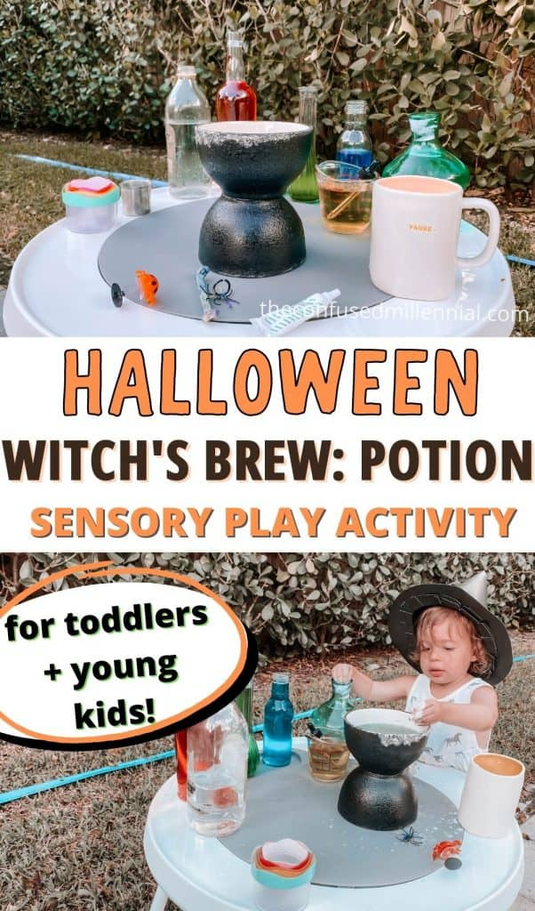 A fun Halloween Sensory Play Activity For Toddlers + Kids: Witch's Brew! Create a not so spooky potion station teaching colors, cause and effect, and STEM concepts to your toddler or preschool or elementary school kids! 10 minute setup, 5 min clean up!