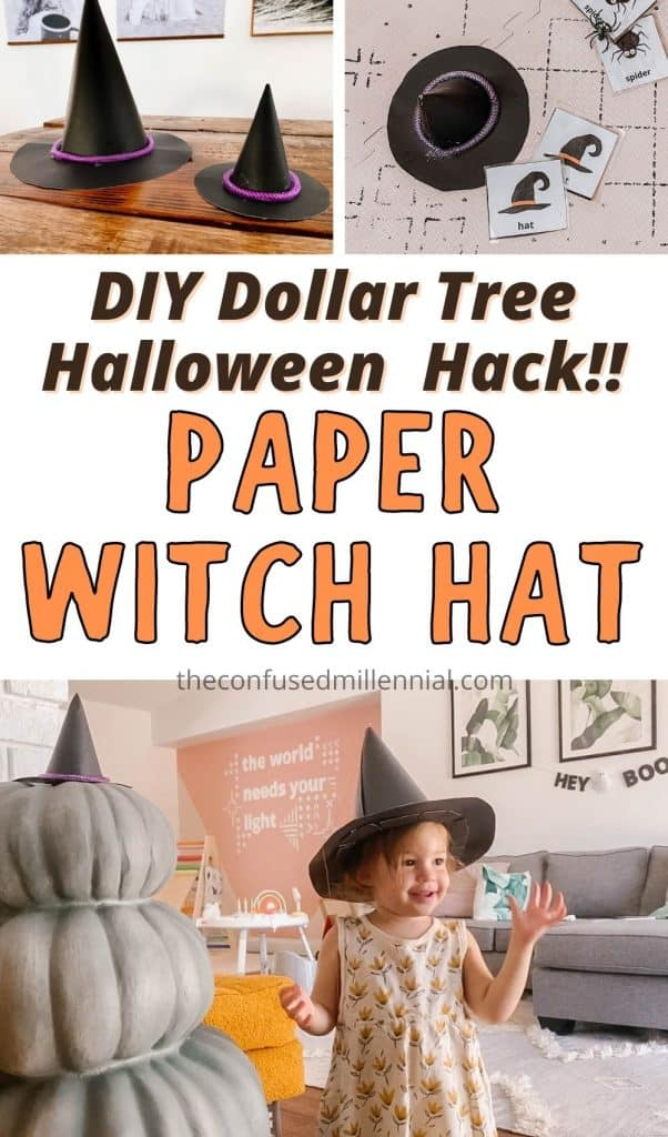 Wondering how do you make a witch hat out of paper? Look no further! Today I'll be walking you through this really simple Dollar Tree Halloween DIY to make a easy homemade witch hat! It's a no-sew DIY that you can also substitute felt for instead of paper! Below you'll find a template you can customize the size so it can fit your little witch, wizard, or even a fun little witches hat for a pumpkin (see video tutorial in post!).