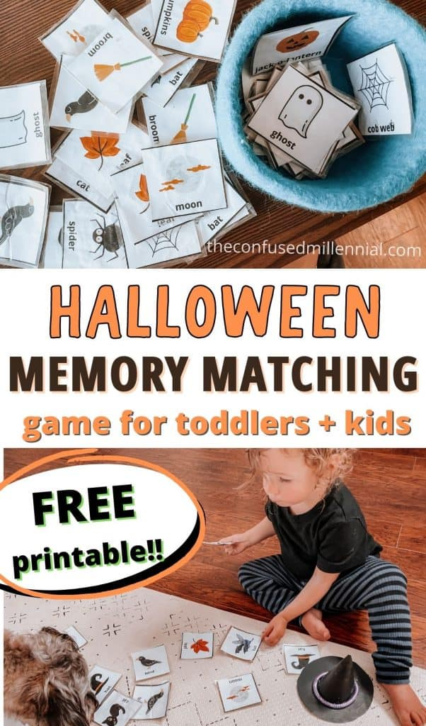 free printable halloween matching game for toddlers and for kids preschool aged and up! This Halloween Memory Match Game is perfect for families, for preschoolers, and even classroom parties. Cards include witches, pumpkins, ghosts, and more. Plus tips for using with young toddler on language development or who may not be ready for a halloween memory game quite yet!  #halloweengames #halloweenactivities #halloweenactivity