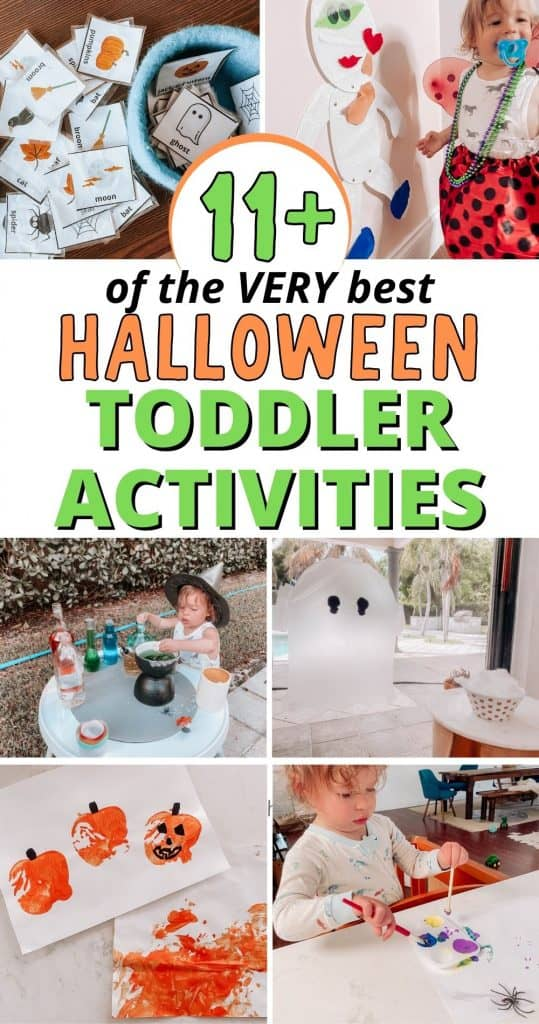 The very best Halloween Toddler activities for a fun and easy day at home with your 1 year old or 2 year old! Inside you'll find craft ideas, a free printable book with 21 pages of fun, and videos showing how to do all these fun sensory play ideas with your toddler this fall!