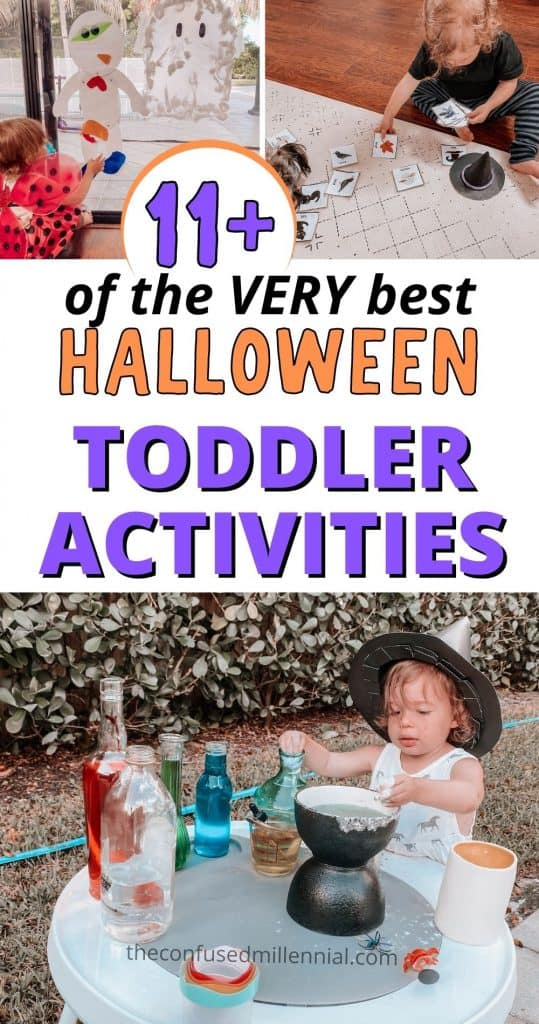 Looking for fun and easy Halloween Activities for Toddlers or preschool aged kids? I've got you with these 11 Fun + Easy Halloween Activities For Toddlers: Sensory Learning! Discover the very best ideas to do at home this fall with your 1 year old, 2 year old, or 3 year old! These are fun and easy ideas for toddlers through preschool age with loads of tips to adapt the sensory learning experiences to meet your kid developmentally! Plus there is a free printable book with 21 pages of fun and videos showing how to do the craft ideas and sensory play with your little one!