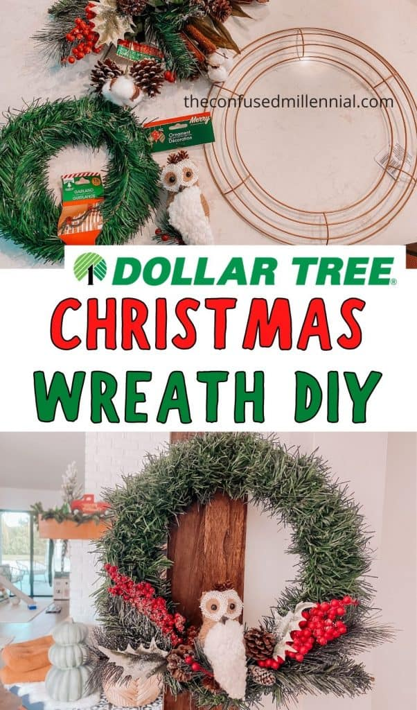 After making my Dollar Tree Ornament Wreath for Halloween I knew I wanted to do another Dollar Tree wreath for Christmas. Queue this gorgeous Woodland Owl Christmas Wreath you can make for ONLY  using supplies just from the dollar store! Below you'll find the DIY dollar tree wreath tutorial and a youtube wreath tutorial video with some additional wreath ideas for making this holiday decor your own! If you want to learn how to make a dollar tree wreath keep reading and make sure to check out the Halloween one if you want to learn how to make one using just ornaments instead!
