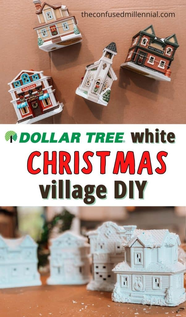 Love the look of a simple white Christmas Village but don't love the price tag? Look no further than this Dollar Tree Christmas DIY Hack! It's the perfect way to create a white christmas village set for your fireplace mantle or holiday decor around the house this year! Even better? If you already own a set, you can just learn how to repaint a Christmas village to match your holiday color palette! Learn how to make a white christmas village using dollar store supplies!