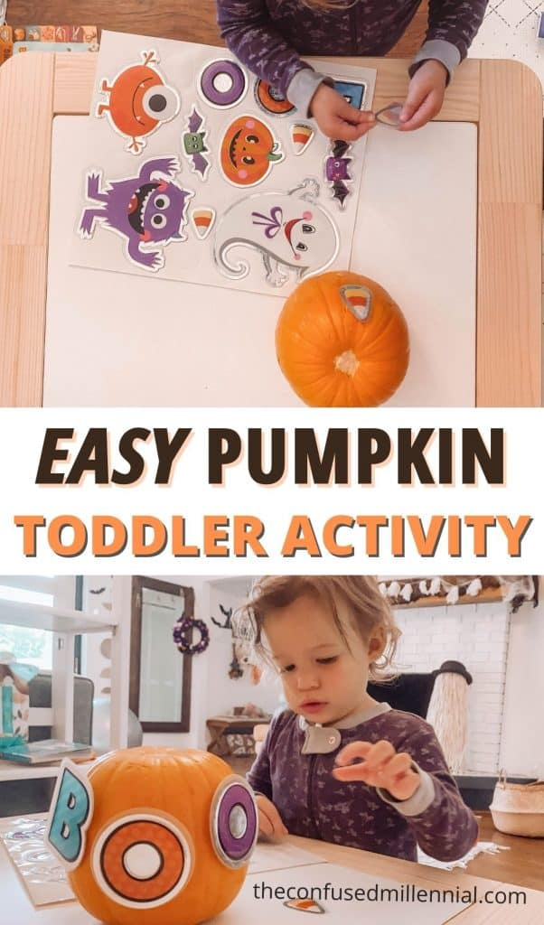 Looking for a no mess pumpkin activity you can do with your 1 year old or 2 year old at home? Check out this super EASY pumpkin activity you can set up, and reuse!! It takes just a minute to pull out and will give your toddler an opportunity to work on fine motor skills.