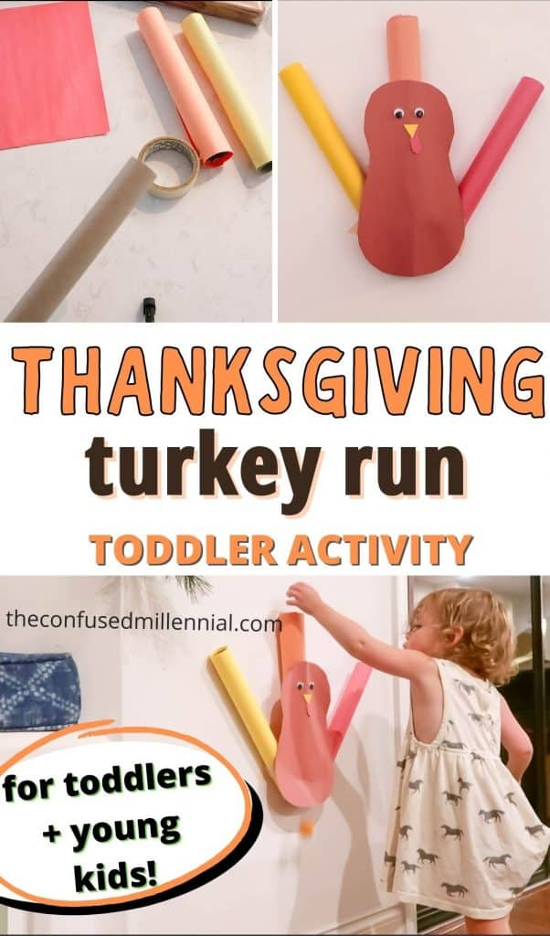 Looking for a fun, low mess, Thanksgiving Toddler Activity using items you already have at home?! Look no further! I'm sharing an easy, no mess fall themed toddler activity called Turkey Run you can set up in minutes! If you have older kids around they can even help with the Turkey Craft for your toddler activity!