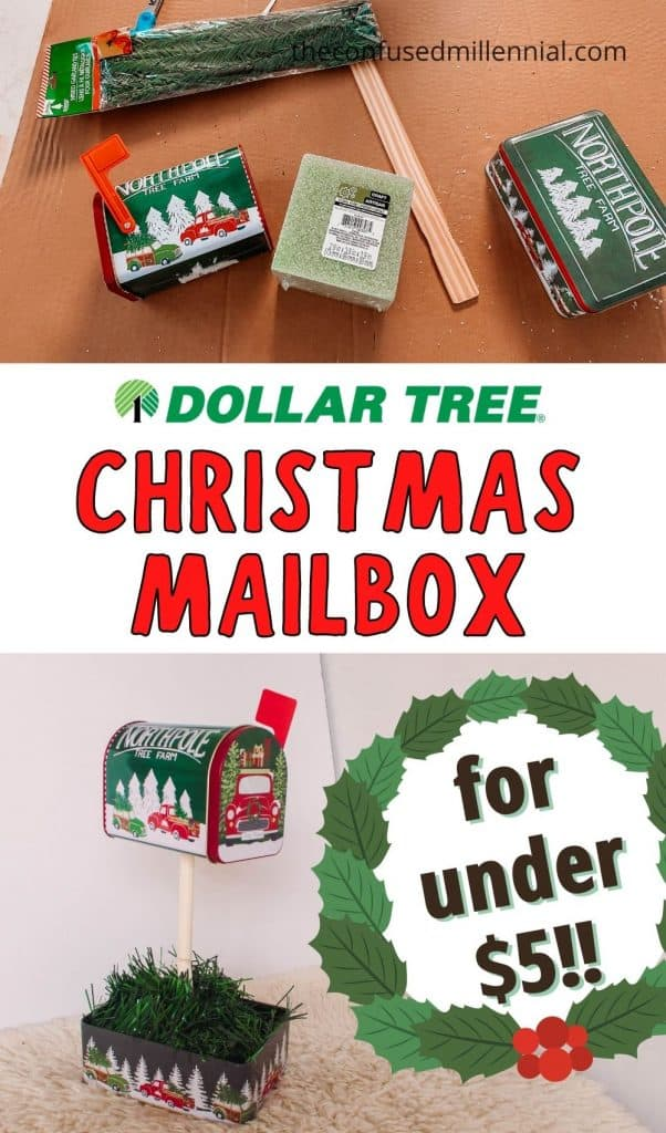 "Wondering ""How Do You Make A Christmas Mailbox For Under $5?"" You're going to LOVE this Dollar Tree Holiday Hack!! It's such an easy Christmas craft, that kids can even do it! Plus it's the perfect place to leave Santa a letter or set out his milk and cookies on Christmas Eve! So throw on one of the Best Christmas Movies To Watch This Holiday Season to watch in the background while you and the family get to Christmas crafting using only items from the Dollar Tree!"