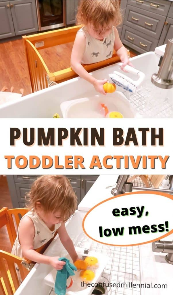 Looking for an EASY toddler activity to do this Halloween or Fall with your toddler? Set up a pumpkin bath for your toddler to stay entertained at home! This is a great montessori inspired toddler activity, rooted in real life skill development.