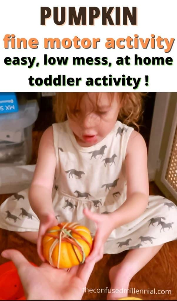 Looking for a no mess toddler activity to do at home this fall or Halloween? Check out this super easy pumpkin fine motor activity for toddlers!
