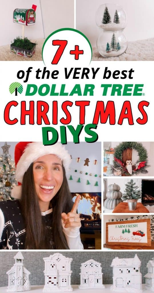 Looking for the very best Dollar Tree Christmas DIY Ideas?!? I got you! From an elegant white Christmas Village to a stunning Dollar Tree Christmas wreath to a festive Christmas mailbox for Santa, you won't want to miss a thing! Even better? All of these Christmas crafts are SO simple! You can do them with kids or while watching your favorite Christmas movie! These cheap DIY holiday decorations will definitely impress! No one will know how cheap your farmhouse holiday decor is, I promise!