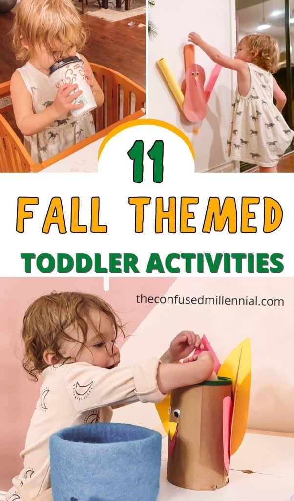 Looking for simple and fun fall toddler activities to keep your 1 or 2 year old entertained? You'll love these ideas using everyday household items you probably already have at home!