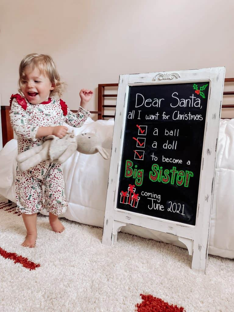 christmas pregnancy announcement for baby number 2 toddler big sister