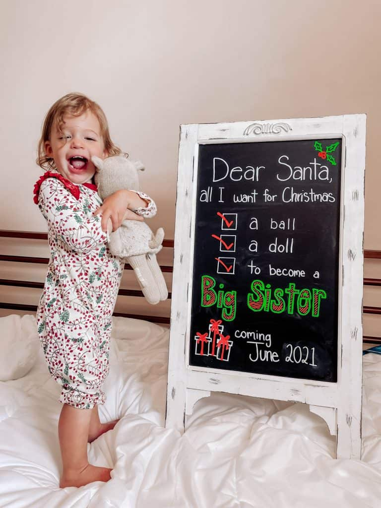 christmas pregnancy announcement for baby number 2 with toddler