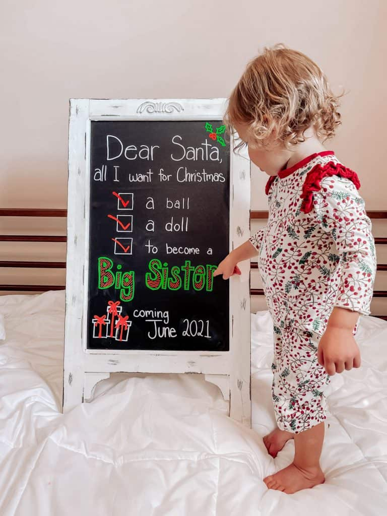 christmas pregnancy announcement for baby number 2 with kids