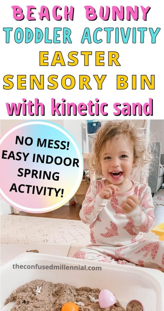 Looking to have some fun with kinetic sand this Easter as a sensory activity for your toddler? Enjoy this SIMPLE Easter Sensory Bin for toddlers and preschoolers! 30 seconds to set up, and 30 seconds to clean up! Plus I only spent  on supplies (we already had the kinetic sand!)