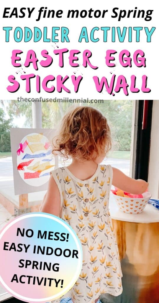 Easy, no mess, Easter Egg Activity for toddler: Easter Egg Sticky Wall! Perfect low mess activity to do indoors at home on a rainy Spring day