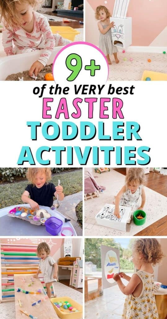 Looking for the best easter activities for toddlers and preschoolers? Look no further! I'm sharing simple easter ideas you can do at home, indoors or outdoors, on a rainy Spring day with your toddler or preschooler using everyday household items!