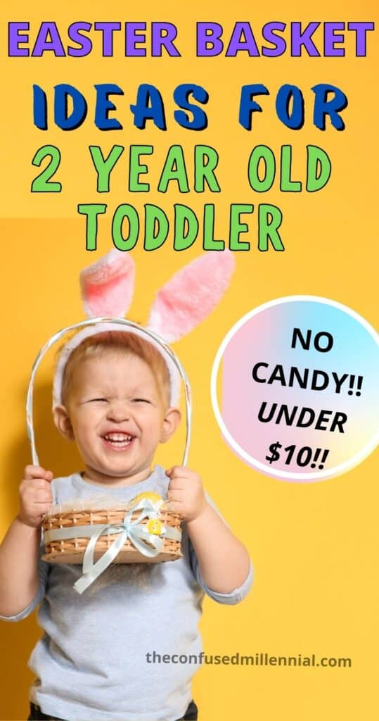 Wondering what to put in Easter Baskets for Toddlers with NO CANDY and that won't break the bank? Sharing exactly what I put in my 2 year old's easter basket, plus ideas for more options working gross and fine motor skills at this developmental stage.