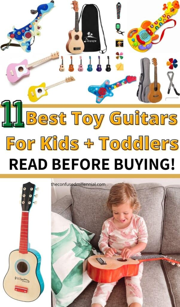 Wondering what the best toy guitar is for your child? Discover the best toy guitars for babies, toddlers, & kids. Plus kids guitar sizing guide, toy vs. acoustic vs. electric guitar,  the best mini guitar, and more! These make the perfect gift for boys and girls!