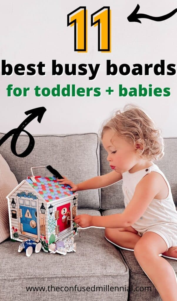 Looking for busy board ideas that will actually keep your baby or toddler engaged? Sharing how to choose the best busy board based on our experience with busy boards for 1 year old to 2 year old to 3 years old!