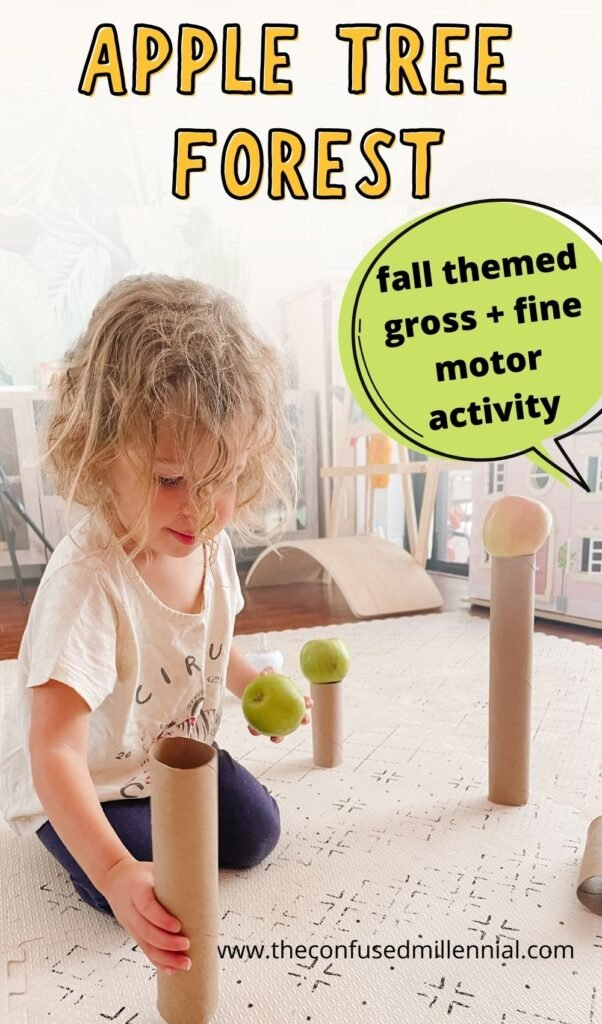 APPLE TREE FOREST | An EASY fall gross motor activity for toddlers and preschoolers! It also works fine motor skills, has some STEM lessons in it, and you can even have babies help with it!